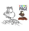 bunny cartoon coloring page vector image vector image