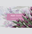 business card with tulip flowers realistic vector image vector image