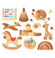 cartoon wooden toys kids vintage wooden toys for vector image