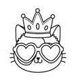 cat with heart sunglasses and crown black and vector image vector image