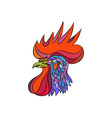Chicken Rooster Head Side Drawing vector image
