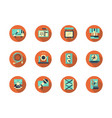 concert equipment round flat icons set vector image vector image