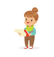 cute little girl drawing with pencil in notebook vector image