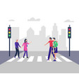 disabled people crossing street vector image