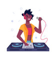 dj girl black afro american speak in microphone vector image vector image