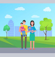 family people in city park vector image vector image