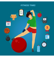Fitness Time Girl with set of Fitness Icons vector image