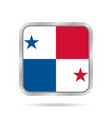 flag of panama shiny metallic gray square button vector image