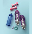 flat lay of sneakers vector image