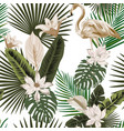 floral and animal seamless composition white vector image vector image