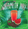 fresh watermelon juice in glass with ripe fruit vector image vector image