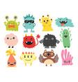 funny cartoon monster cute alien character vector image vector image