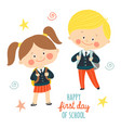 funny hand drawn kids in school uniforms with vector image