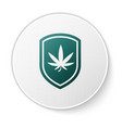 green shield and marijuana or cannabis leaf icon vector image vector image