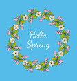 greeting card template with round frame wreath vector image vector image