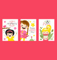 greeting cards with cute girls happy womens day vector image vector image