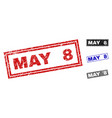 grunge may 8 scratched rectangle stamps vector image vector image