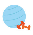 gym fitness ball and dumbbells isolated icon white vector image