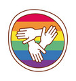 hands teamwork gay flag line and fill style icon vector image vector image