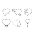 heart icon set outline style vector image