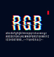 modern style distorted glitch typeface mixing red vector image vector image