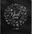 monogram meal time chalk vector image vector image