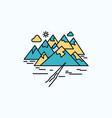 mountain hill landscape rocks crack flat icon vector image