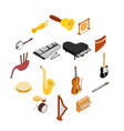 musical instruments set icons isometric 3d style vector image