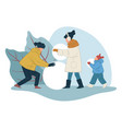 parents and kid building snowman outdoors vector image vector image