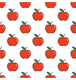 pattern with thin line red apples vector image vector image