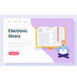 reading online e-book and e-learning pc vector image vector image