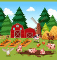 rural happy farm animals vector image vector image