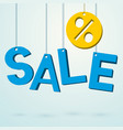 sale blue sign hanging on a thread vector image vector image