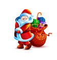 santa claus shy playful with bag gift vector image vector image