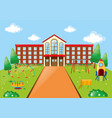 scene with school building and playground vector image