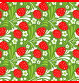 seamless cute strawberry pattern background vector image vector image