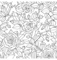 seamless pattern of rose flowers crystals gems vector image vector image