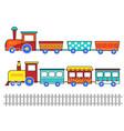 set cute kids cartoon trains vector image