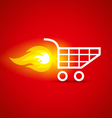 shopping cart and fire vector image vector image
