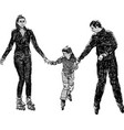 sketch a young family townspeople riding on vector image vector image