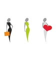 stylized silhouettes of women vector image
