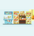 supermarket department with dairy products and vector image