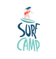 surfing girls in ocean surf camp lettering vector image vector image