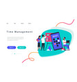 time management landing page team work concept vector image
