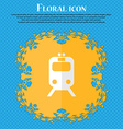 train Floral flat design on a blue abstract vector image vector image