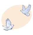 Two free flying white doves isolated sketch style vector image vector image