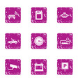 urban parking place icons set grunge style vector image