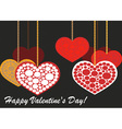 Valentine hearts on beads vector image vector image