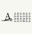 vintage set calligraphic capital letters vector image vector image