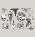 vintage tattoos monochrome set vector image vector image
